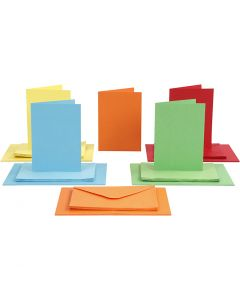 Cards and Envelopes, card size 10,5x15 cm, envelope size 11,5x16,5 cm, 110+220 g, assorted colours, 50 set/ 1 pack