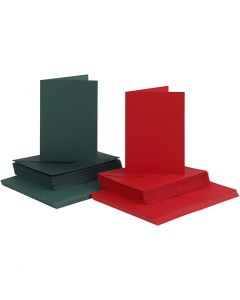 Cards and Envelopes, card size 10,5x15 cm, envelope size 11,5x16,5 cm, green, red, 50 set/ 1 pack
