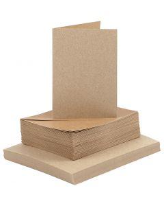 Cards and Envelopes, card size 10,5x15 cm, envelope size 11,5x16,5 cm, natural, 50 set/ 1 pack
