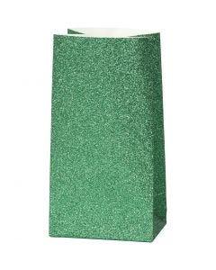 Paper Bag, H: 17 cm, size 6x9 cm, 150 g, green, 8 pc/ 1 pack
