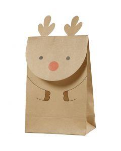 Paper Bag, reindeer, H: 18 cm, size 6x12 cm, 80 g, brown, 6 pc/ 1 pack