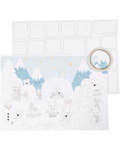 Christmas Calendar, size 30x42 cm, white, 3 pc/ 1 pack