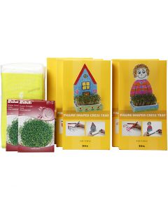 Figure Shaped Cress Trays, H: 20 cm, white, 30 set/ 1 pack