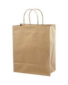 Paper Bag, H: 33 cm, W: 26x13 cm, 125 g, brown, 10 pc/ 1 pack