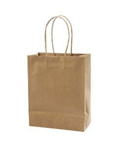 Paper Bag, H: 23 cm, W: 18x9 cm, 125 g, brown, 10 pc/ 1 pack