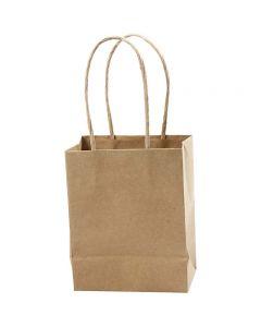 Paper Bag, H: 17 cm, W: 12x7 cm, 125 g, brown, 10 pc/ 1 pack