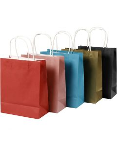 Paper Bag, H: 23 cm, W: 18x9 cm, 125 g, assorted colours, 5x2 pc/ 1 pack