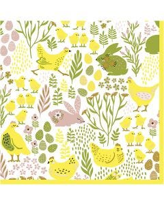 Table Napkins, Bunnies & chicks, size 33x33 cm, 20 pc/ 1 pack