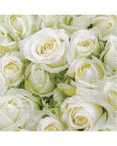 Table Napkins, White roses, size 33x33 cm, 20 pc/1 pack