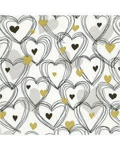 Table Napkins, Hearts, size 33x33 cm, 20 pc/1 pack