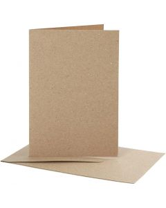 Blank Cards With Envelope, card size 10,5x15 cm, envelope size 11,5x16,5 cm, natural, 10 set/ 1 pack