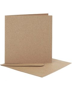 Blank Cards With Envelope, card size 12,5x12,5 cm, envelope size 13,5x13,5 cm, natural, 10 set/ 1 pack