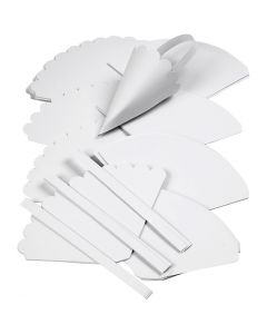Cones, H: 13 cm, D: 8 cm, white, 240 pc/ 1 pack