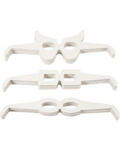 Novelty Glasses, H: 4,5-10 cm, L: 32 cm, 230 g, white, 160 pc/ 1 pack
