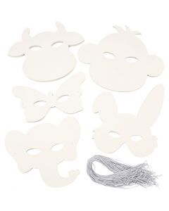 Animal Masks, H: 13-24 cm, W: 20-28 cm, 230 g, white, 100 pc/ 1 pack