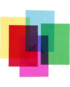 Cellophane, 210x297 mm, assorted colours, 5x20 sheet/ 1 pack