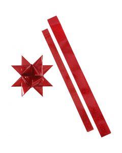 Star Strips, L: 86+100 cm, D: 11,5+18,5 cm, W: 25+40 mm, red, red glitter, 16 strips/ 1 pack