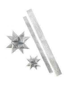 Star Strips, L: 86+100 cm, D: 11,5+18,5 cm, W: 25+40 mm, glitter silver, 16 strips/ 1 pack