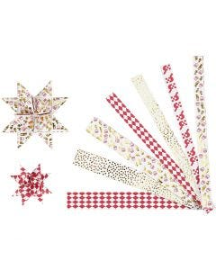 Paper star strips, L: 44+78 cm, D: 6,5+11,5 cm, W: 15x25 mm, gold, red, white, 48 strips/ 1 pack