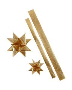 Star Strips, L: 86+100 cm, D: 11,5+18,5 cm, W: 25+40 mm, gold glitter, 16 strips/ 1 pack