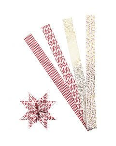 Paper star strips, L: 100 cm, D: 18 cm, W: 40 mm, gold, red, white, 40 strips/ 1 pack