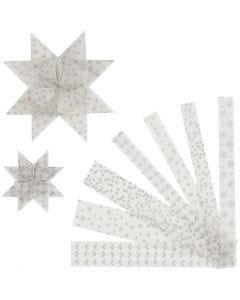 Paper Star Strips, L: 44+78 cm, W: 15+25 mm, D: 6,5+11,5 cm, silver, white, 48 strips/ 1 pack