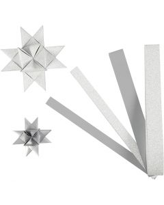 Paper Star Strips, L: 44+78 cm, D: 6,5+11,5 cm, W: 15+25 mm, glitter,varnish, silver, 40 strips/ 1 pack