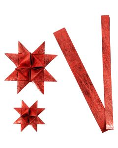 Paper star strips, L: 44+78 cm, D: 6,5+11,5 cm, W: 15+25 mm, red, 32 strips/ 1 pack