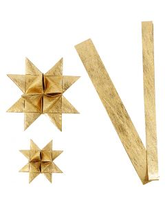 Paper star strips, L: 44+78 cm, D: 6,5+11,5 cm, W: 15+25 mm, gold, 32 strips/ 1 pack