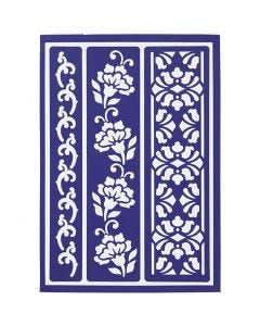 Flexible Stencil , flowery borders, 21x14,8 cm, 1 pc