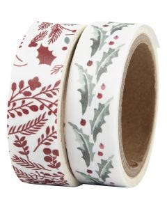 Washi Tape, holly and branches, W: 15 mm, 2x5 m/ 1 pack