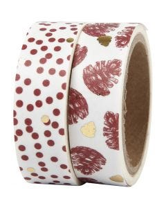 Washi Tape, cones and dots - foil, W: 15 mm, 2x4 m/ 1 pack