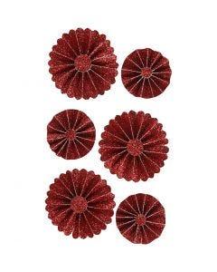 Paper Rosettes, D: 35+50 mm, red glitter, 6 pc/ 1 pack