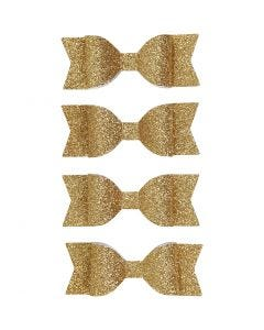 Paper Bow, size 31x85 mm, gold glitter, 4 pc/ 1 pack