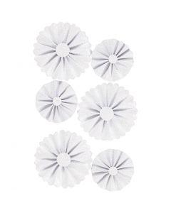 Paper Rosettes, D: 35+50 mm, white glitter, 6 pc/ 1 pack