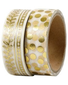 Washi Tape, rake and dots - foil, W: 15 mm, gold, 2x4 m/ 1 pack