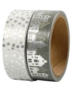 Washi Tape, houses and dots - foil, W: 15 mm, silver, 2x4 m/ 1 pack