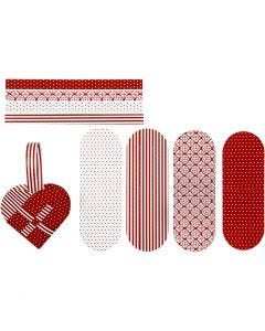 Woven Hearts, size 14,5x10 cm, 120 g, red, white, 8 set/ 1 pack