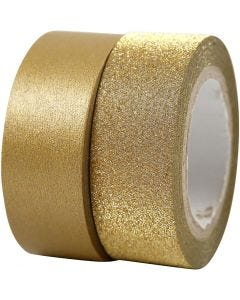 Design Tape, W: 15 mm, gold, 2 roll/ 1 pack