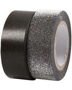 Design Tape, W: 15 mm, black, 2 roll/ 1 pack