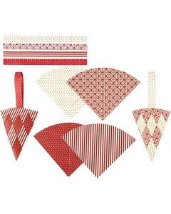 Woven Cones, H: 19,3 cm, W: 9,2 cm, red, white, 8 set/ 1 pack