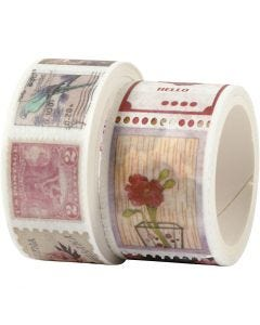 Washi Tape, L: 3+5 m, W: 20+25 mm, 2 roll/ 1 pack