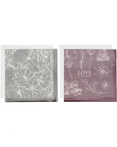 Deco Foil and transfer sheet, flowers, 15x15 cm, rose, silver, 4 sheet/ 1 pack