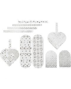 Woven Hearts, size 12,5x11,5 cm, 120 g, silver, white, 8 set/ 1 pack