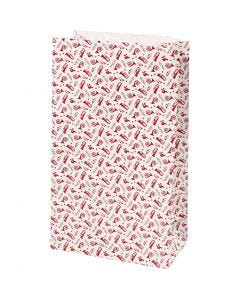 Paper Bag, trumpet, H: 21 cm, size 6x12 cm, 80 g, red, white, 8 pc/ 1 pack