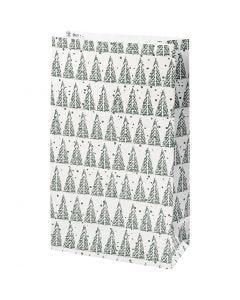 Paper Bag, pinetree, H: 21 cm, size 6x12 cm, 8 pc/ 1 pack