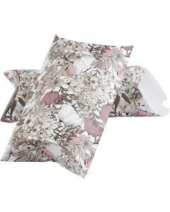 Pillow box, flowers, size 23,9x15x6 cm, 300 g, beige, brown, rose, white, 3 pc/ 1 pack