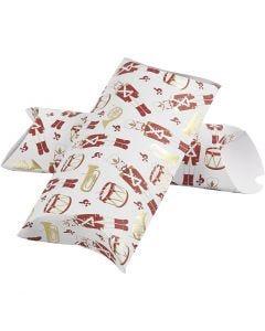 Pillow box, nutcracker, size 23,9x15x6 cm, 300 g, gold, red, white, 3 pc/ 1 pack