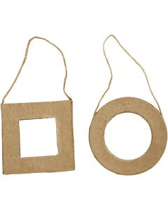 Frames, Square and Round, size 7 cm, 6 pc/ 1 pack