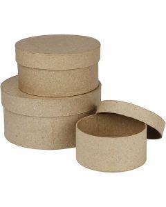 Round Boxes, H: 5+6,5+7,5 cm, D: 10+13+16 cm, 3 pc/ 1 set